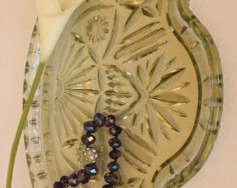 Mint Green Pressed Glass Comb Tray