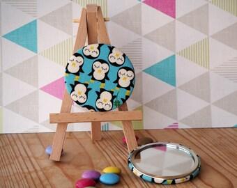 cute kawaii penquin fabric backed pocket compact mirror