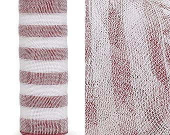Crimson Red White Stripe Deco Mesh, Crimson Deco Mesh, Red White Stripe Deco Mesh, Wreath Supplies