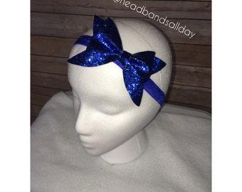 Royal blue glitter bow headband