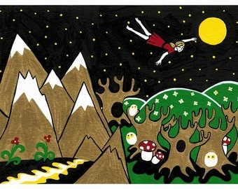 """Dreamflight. Giclee print of my original acrylic painting on paper. 6""""×9"""" with white border for framing."""