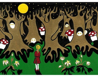 """Into the dream forest. Giclee print of my original acrylic painting on paper. 6""""×9"""" with white border for framing."""
