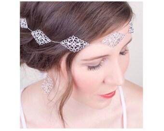 Silver Bridal Filigree Hair Vine, Silver Wedding Crown, Silver Bridal Halo, Silver Sash Belt Hair Vine, Headpiece 4(S)
