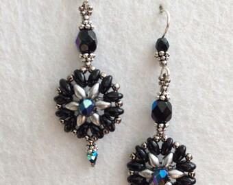 Black Aurora Borealis Crystal Seed Beaded Earrings