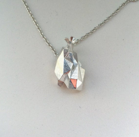 science jewelry: silver origami heart necklace 3D printed - photo#2
