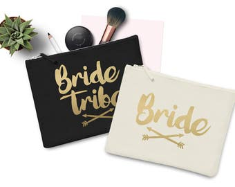 Bride Tribe Wedding Party Makeup Bag Case Make up Gift Clutch Bridesmaid Hen Party Flower Girl Gift Groom