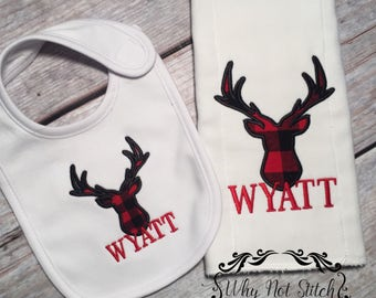 deer bib, deer burp cloth, bib and burp set, bib set, baby shower gift, baby gift, baby boy gift