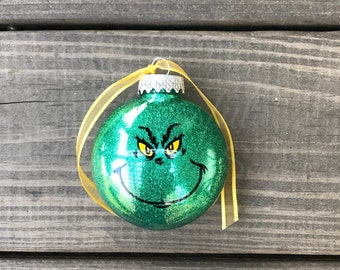 Glitter Christmas Ornament, Personalized Christmas Ornament, Christmas Ornament, Techer Gift, Cheap Gift, Grinch Ornament