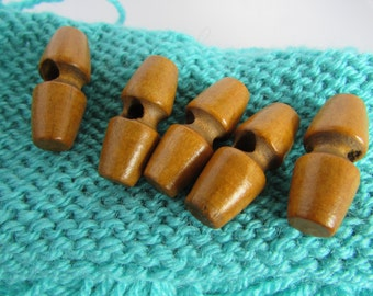 Pack of 5 Dark Wood Toggle Buttons