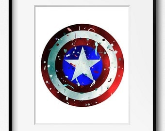 Captain America's Shield Watercolor Art Print (S004) Disney, Marvel, Steve Rogers, Abstract, Poster, Wall Art, Kids Home Decor, Nursery,