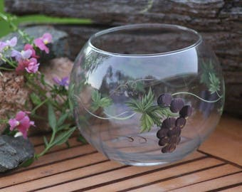 GLASS FLOAT BOWL - Hand-painted grapvine pattern, fragile glass vase.