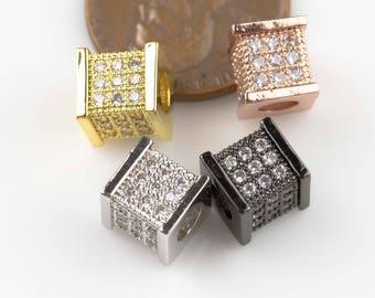 7mm Square Beads CZ Rhinestone Pave