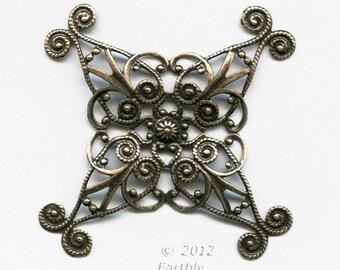 Oxidized brass filigree wrap. 60mm. Sold individually. b9-2219(e)