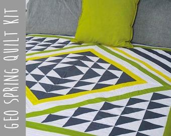 """Quilt Kit and Pattern:  Geometric Patchwork Quilt Kit 61"""" Square Lap Quilt"""