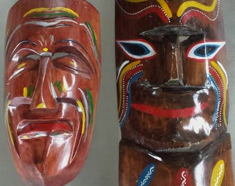 """SALE 19"""" & 14"""" Vintage Carved Wooden Masks Tiki Wall Hanging Hand Painted Wall Art"""