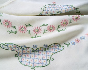 Vintage Linen Tablecloth, Hand Embroidered Square Tablecloth With Pink And Blue Daisies. Perfect for a baby shower, or afternoon tea party