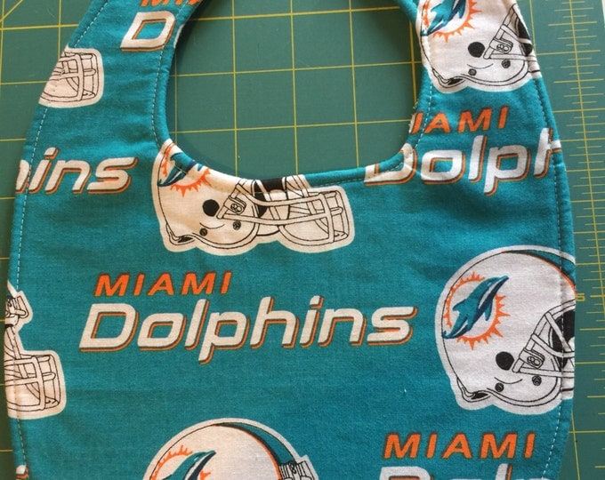 Baby Bib Miami Dolphins Inspired Fabric Print,  Available in 3 sizes!!
