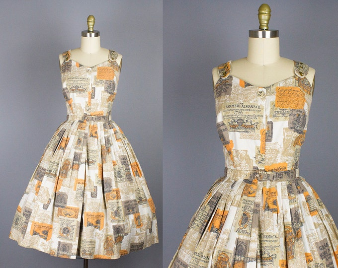 1950s novelty cotton sundress/ 50s print dress/ extra small xs