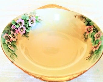 Antique Hand Painted Porcelain Serving Bowl With Wild Roses Marked Austria And Artist Signed