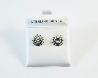 Blue Topaz Flower Stud Earrings