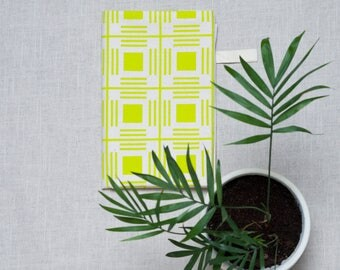 Yellow Geometric Tea Towel / Dish Towel / kitchen Towel / Housewarming Gift / Printed Dish Cloth /  Pattern Tea Towel / Cotton Fabric
