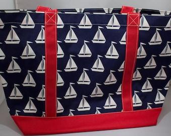 Beach Bag-Tote Bag-Carry On-Luggage-Cruise-Overnight Bag-Nautical-Coastal-Sailboat-Sailing-Boating