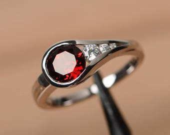 red garnet ring round cut engagement rings for her gemstone ring January birthstone ring silver