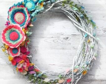 Felt Flower Wreath -  Spring Wreath - Spring floral wreath - Easter Floral Wreath  - Door Wreath -  Front Door Wreath - Summer Wreath