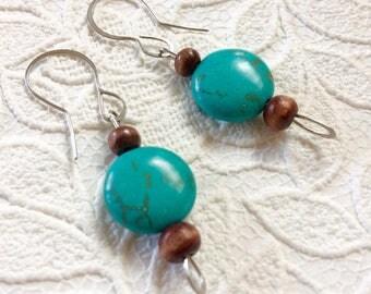 Turquoise earrings/hypoallergenic earrings/stainless steel earrings/surgical steel earrings/hypoallergenic jewelry/allergy sensitive earring