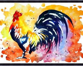 Rooster Art Chicken_Original Watercolor Painting, Art print from my original watercolor painting
