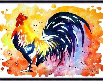 Rooster Art Chicken_Original Watercolor Painting, Art print from my original watercolor painting 065