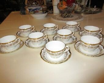 ENGLAND COALPORT HAZELTON Nine Teacups and Saucers