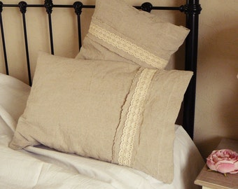 Pure Irish Linen Pillowcase Rustic Rural Vintage Country With Cotton Lace Trim 2510