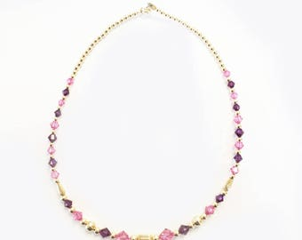 Kids Necklace with Rose and Amethyst