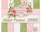 Lemoncraft Heart Painted Basic 12x12 Scrapbook Paper Stack