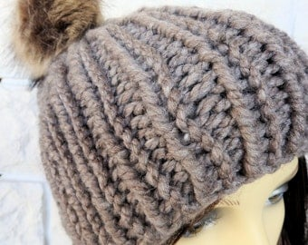Hand Knitted Brown Winter Hat With Brown Pompom - Free Shipping