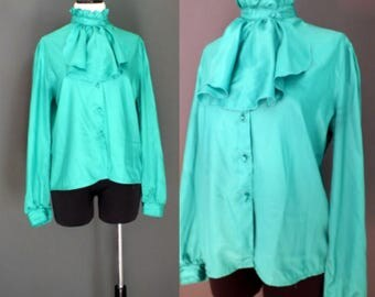 80's Green Ruffle Pleated Neck Details High Neck Bib Shirt Top Blouse M