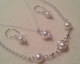 Sale! Sterling Silver Wire Wrapped Freshwater Pearl Necklace Earring and Bracelet Set