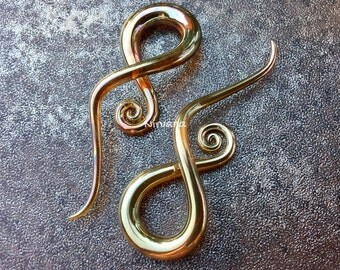 "Real Silver/Gold Color Glass Note Spirals 10g 8g 6g 4g 2g 0g 00g 7/16"" 1/2"" 9/16"" 5/8""  2.5 mm 3 mm 4 mm 5 mm 6 mm 8 mm 10 mm - 16 mm"