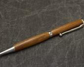 Handmade Brazilian Cherry Ink Pen ~ Handmade Wood Pen ~ Handturned Pen ~ Slim Style Ballpoint Pen ~ silver accents ~ FREE SHIPPING