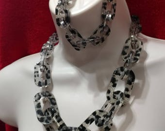 SALE Gray Animal Print  Lucite, Chain Link,Necklace and Bracelet Set
