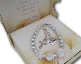 Girls First Holy Communion Pearl Beaded Bracelet Favour Present Gift
