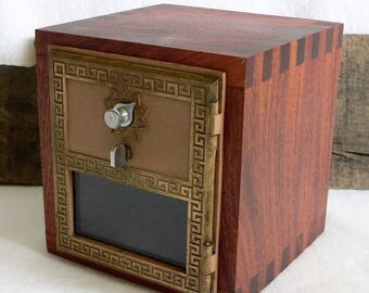 Handcrafted Solid Sapele Hardwood Bank with Vintage Post Office Door