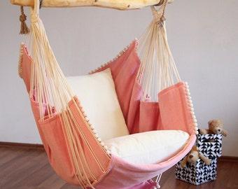 Hammock chair (Pink/White cushion)