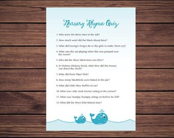 Nursery Rhyme Quiz Baby Shower Game, Blue Whales Nursery Rhyme Baby Shower Game, Instant Download Printable