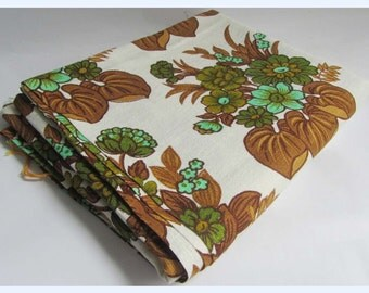 Vintage Retro 60s 70s Brown Green Floral Vintage Fabric Material