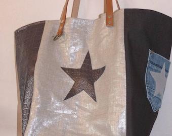 metallic gold lame linen tote bag, Croc, jean pocket, Black Star, camel leather handles