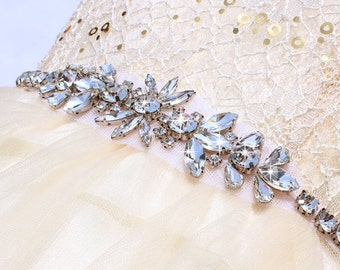 Wedding Dress belt Skinny bridal belt sash  Bridesmaids Belt Crystal wedding belt Thin beaded wedding sash Crystal Rhinestone belt