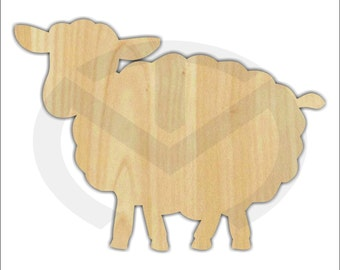 Unfinished Wood Sheep Shape Laser Cutout, Wreath Accent, Ready to Paint and Personalize, Various Sizes