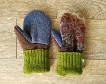 Rusty Orange and Green Sweater Mittens //LoveWoolies Mittens //Fleece Lined